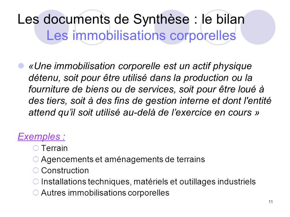11 Les documents de Synthèse : le bilan Les immobilisations corporelles «Une immobilisation corporelle est un actif physique détenu, soit pour être ut