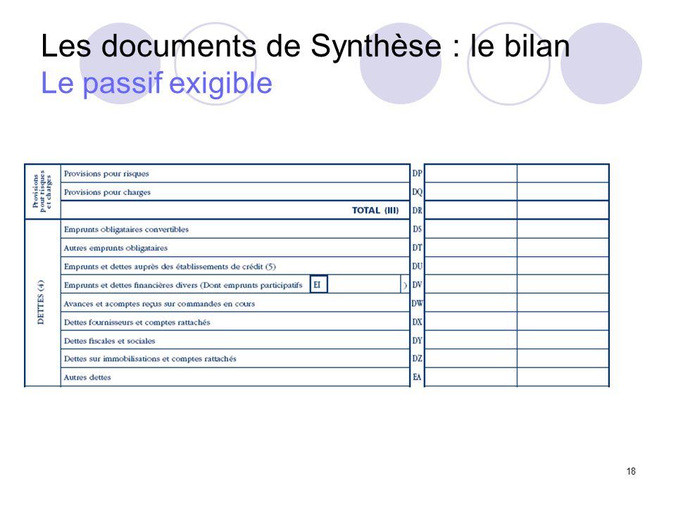18 Les documents de Synthèse : le bilan Le passif exigible
