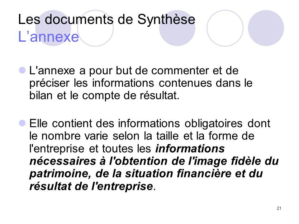 21 Les documents de Synthèse Lannexe L'annexe a pour but de commenter et de préciser les informations contenues dans le bilan et le compte de résultat