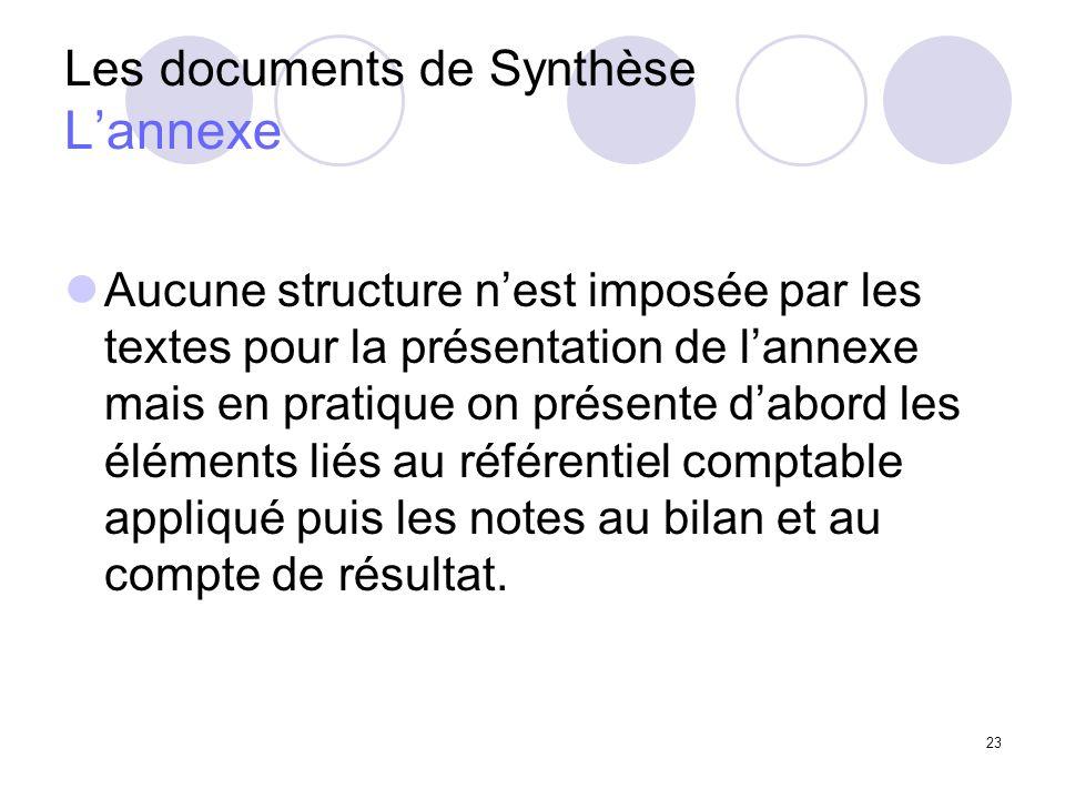 23 Les documents de Synthèse Lannexe Aucune structure nest imposée par les textes pour la présentation de lannexe mais en pratique on présente dabord