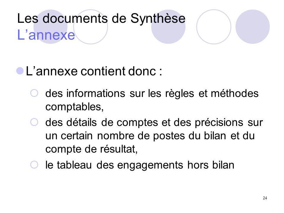 24 Les documents de Synthèse Lannexe Lannexe contient donc : des informations sur les règles et méthodes comptables, des détails de comptes et des précisions sur un certain nombre de postes du bilan et du compte de résultat, le tableau des engagements hors bilan