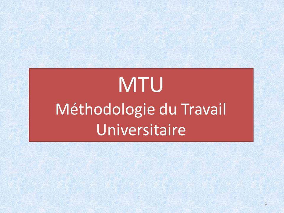 MTU Méthodologie du Travail Universitaire 1