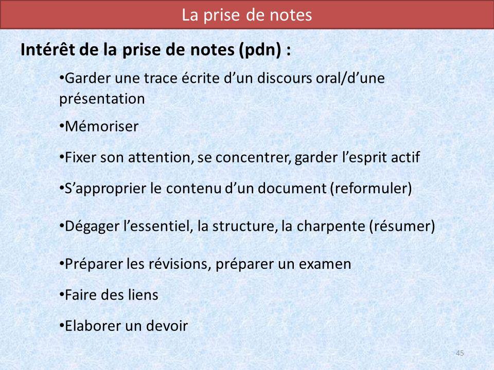 La prise de notes Intérêt de la prise de notes (pdn) : 45 Garder une trace écrite dun discours oral/dune présentation Mémoriser Fixer son attention, s