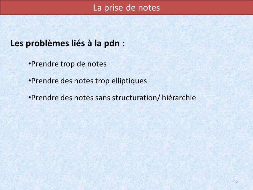 La prise de notes Les problèmes liés à la pdn : 46 Prendre trop de notes Prendre des notes trop elliptiques Prendre des notes sans structuration/ hiér