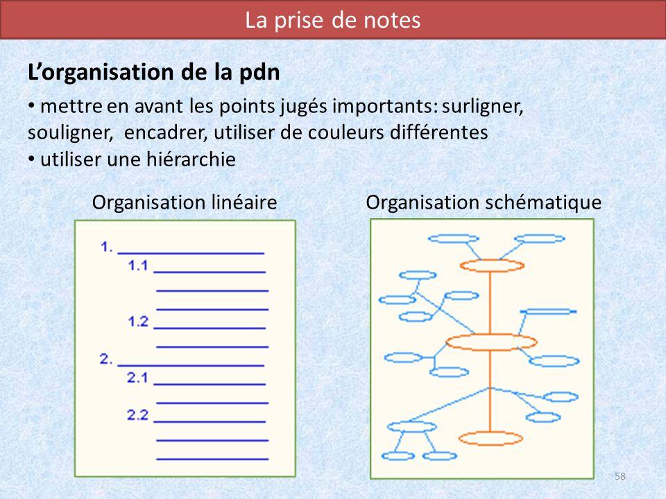 La prise de notes mettre en avant les points jugés importants: surligner, souligner, encadrer, utiliser de couleurs différentes utiliser une hiérarchi