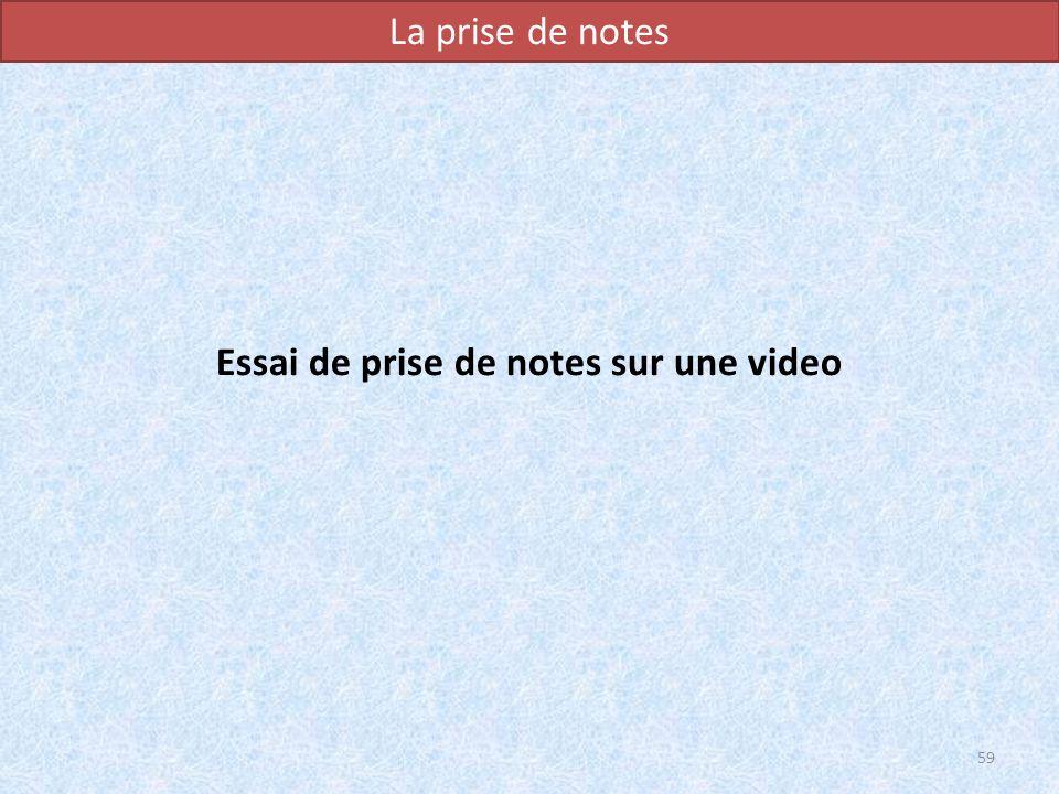 La prise de notes Essai de prise de notes sur une video 59