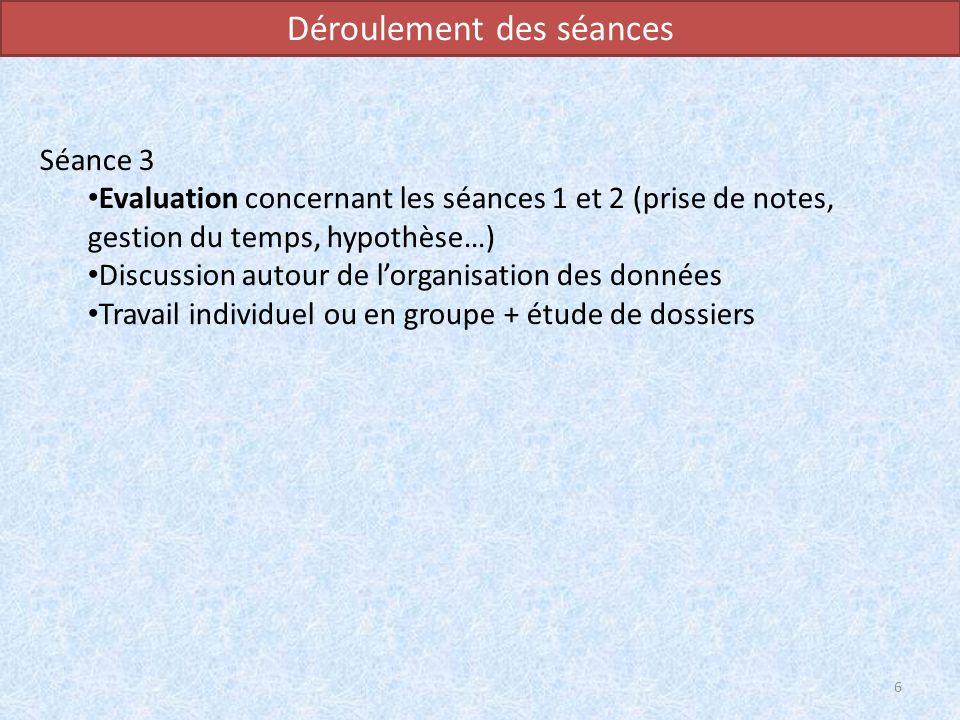 Déroulement des séances Séance 3 Evaluation concernant les séances 1 et 2 (prise de notes, gestion du temps, hypothèse…) Discussion autour de lorganis