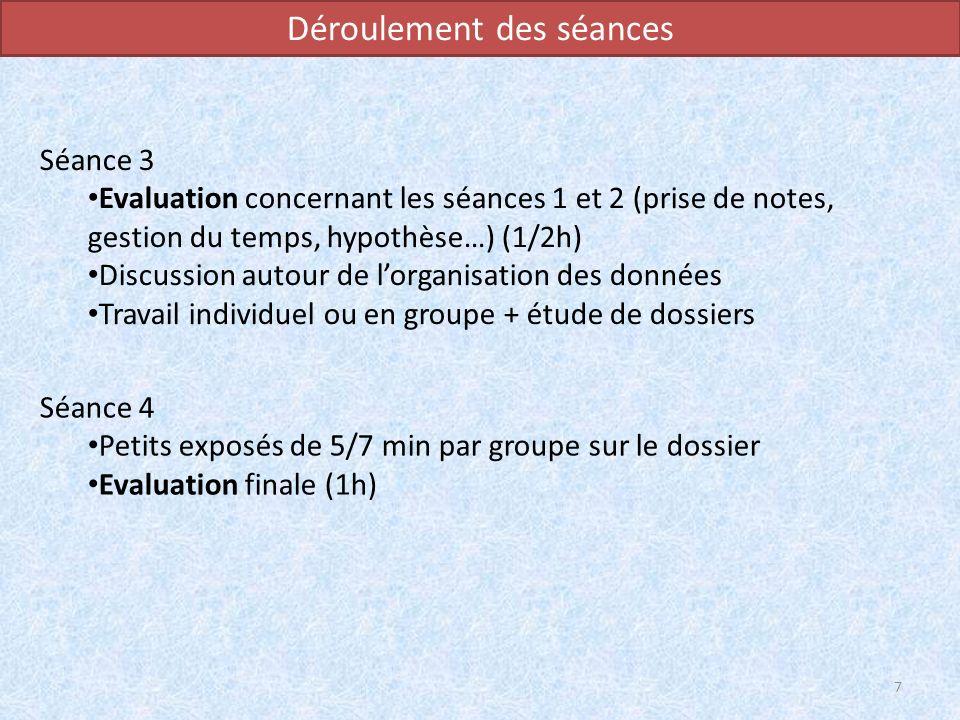 Déroulement des séances Séance 4 Petits exposés de 5/7 min par groupe sur le dossier Evaluation finale (1h) 7 Séance 3 Evaluation concernant les séanc