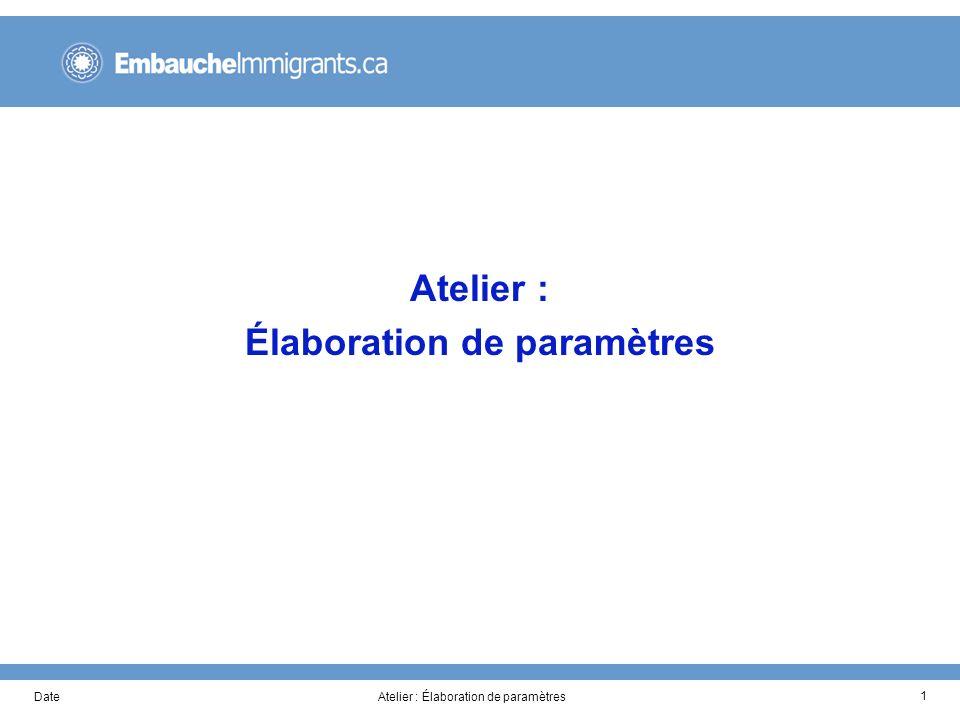 DateAtelier : Élaboration de paramètres 1