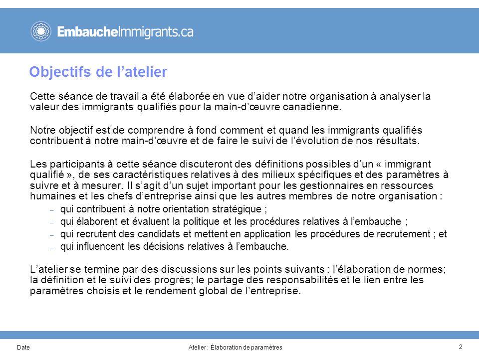 DateAtelier : Élaboration de paramètres 2 Objectifs de latelier Cette séance de travail a été élaborée en vue daider notre organisation à analyser la valeur des immigrants qualifiés pour la main-dœuvre canadienne.