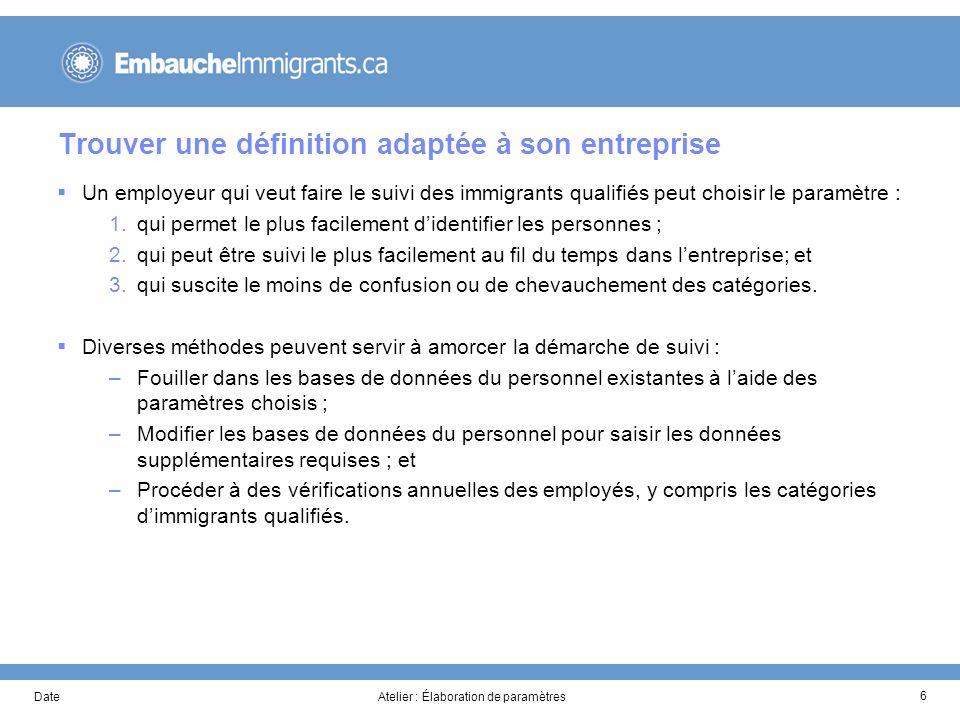 DateAtelier : Élaboration de paramètres 7 Outil : Élaboration de paramètres #Paramètres possiblesCocher 1Naissance à lextérieur du Canada 2Moins de 10 ans au Canada avant lembauche 3Moins de 3 ans au Canada avant lembauche 4Scolarisation à létranger 5Expérience de travail internationale 6Aucune expérience canadienne dans son secteur de compétence 7ALS ou FLS : anglais ou français, langue seconde 8Citoyenneté autre que canadienne 1.