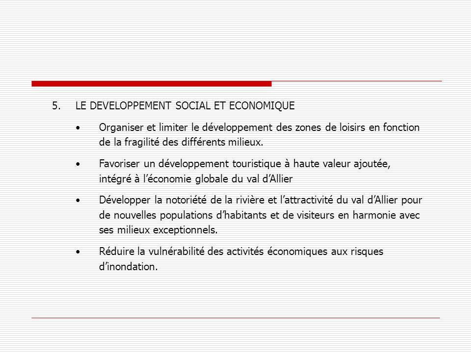 5.LE DEVELOPPEMENT SOCIAL ET ECONOMIQUE Organiser et limiter le développement des zones de loisirs en fonction de la fragilité des différents milieux.