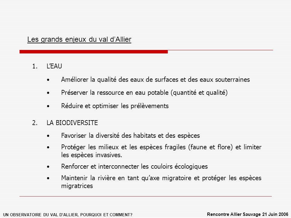 Les grands enjeux du val dAllier UN OBSERVATOIRE DU VAL DALLIER, POURQUOI ET COMMENT.