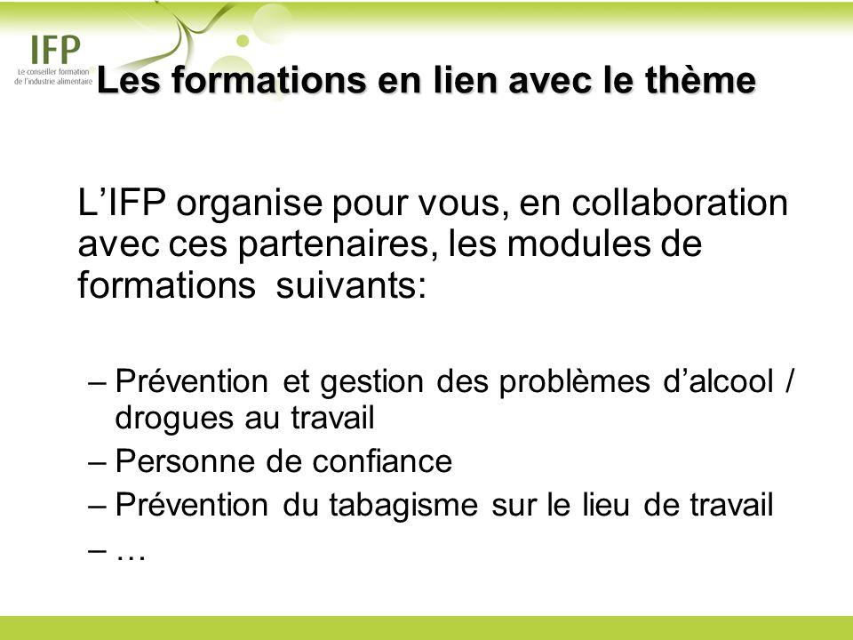 LIFP organise pour vous, en collaboration avec ces partenaires, les modules de formations suivants: –Prévention et gestion des problèmes dalcool / drogues au travail –Personne de confiance –Prévention du tabagisme sur le lieu de travail –… Les formations en lien avec le thème