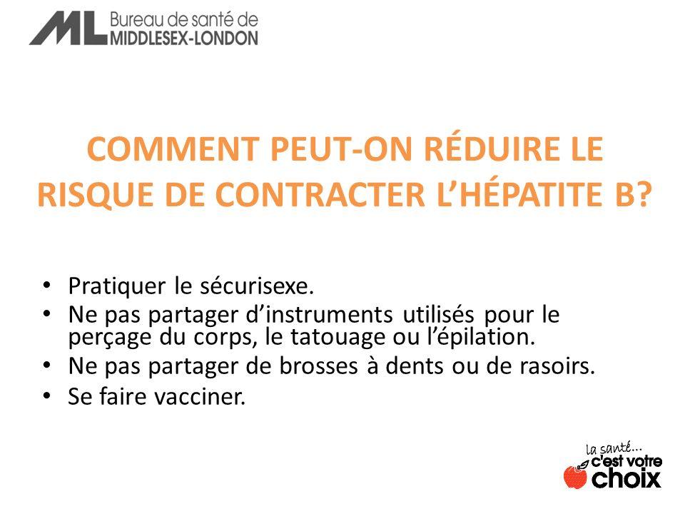 COMMENT PEUT-ON RÉDUIRE LE RISQUE DE CONTRACTER LHÉPATITE B.