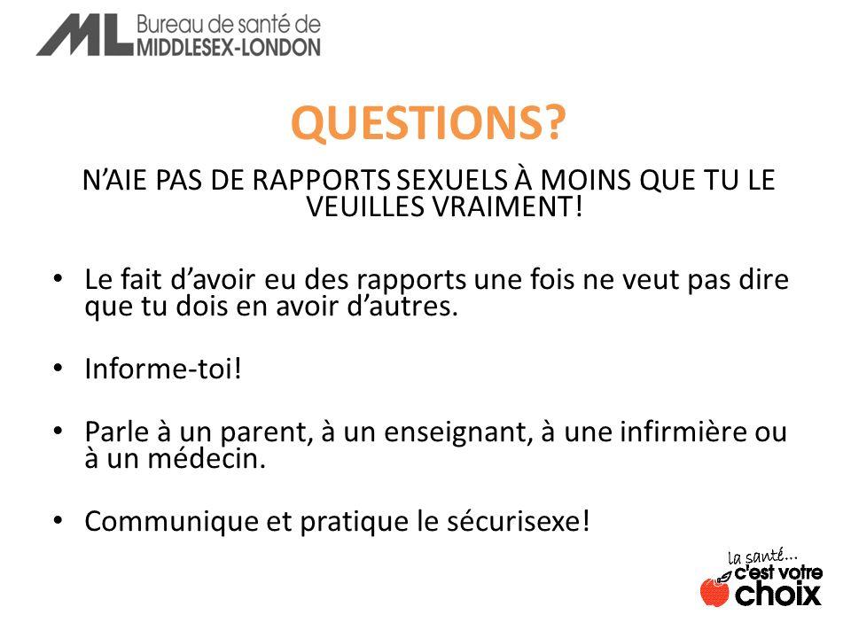 QUESTIONS.NAIE PAS DE RAPPORTS SEXUELS À MOINS QUE TU LE VEUILLES VRAIMENT.