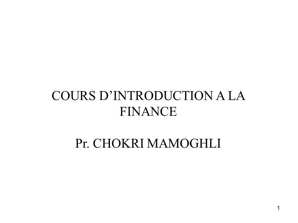 1 COURS DINTRODUCTION A LA FINANCE Pr. CHOKRI MAMOGHLI