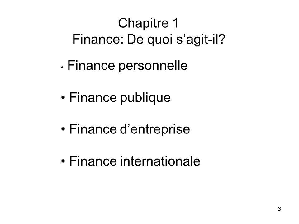 3 Chapitre 1 Finance: De quoi sagit-il? Finance personnelle Finance publique Finance dentreprise Finance internationale
