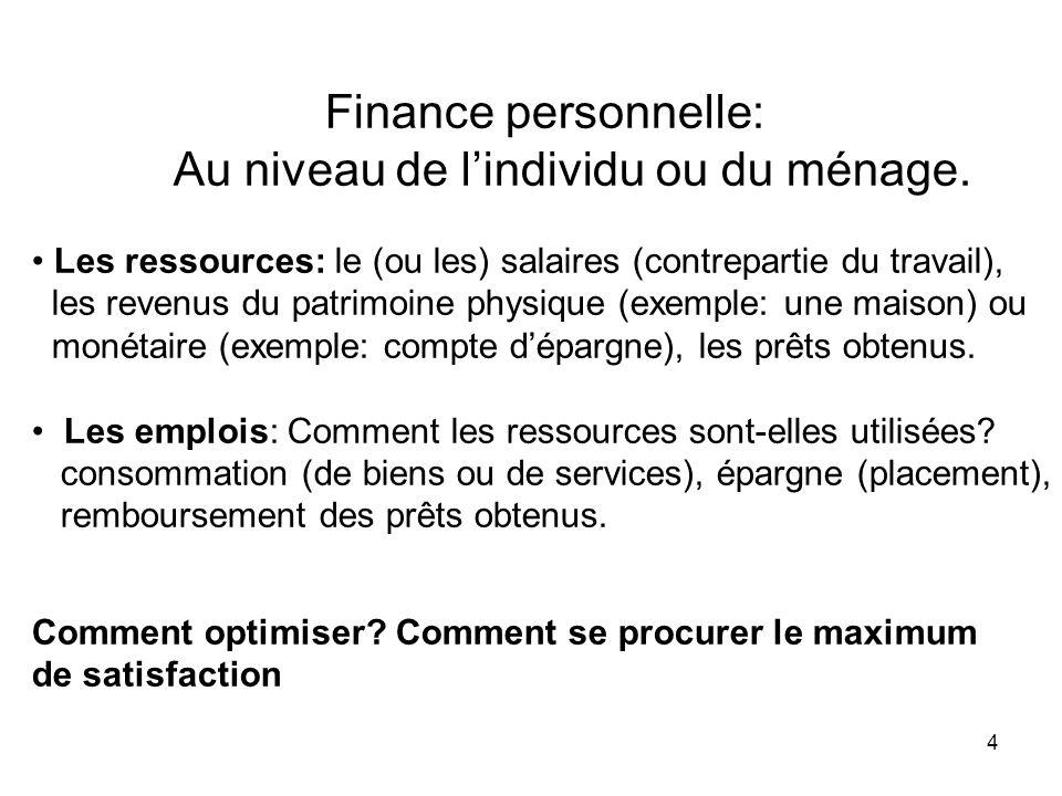 4 Finance personnelle: Au niveau de lindividu ou du ménage. Les ressources: le (ou les) salaires (contrepartie du travail), les revenus du patrimoine