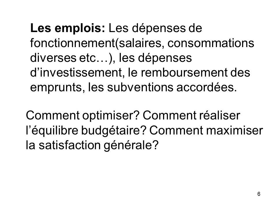 6 Les emplois: Les dépenses de fonctionnement(salaires, consommations diverses etc…), les dépenses dinvestissement, le remboursement des emprunts, les