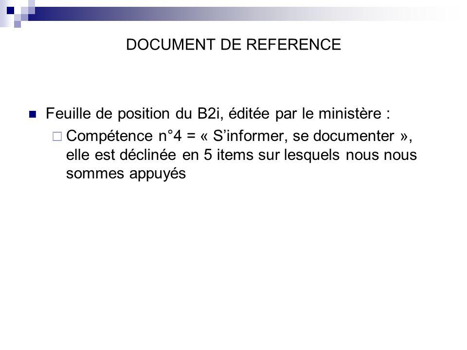 DOCUMENT DE REFERENCE Feuille de position du B2i, éditée par le ministère : Compétence n°4 = « Sinformer, se documenter », elle est déclinée en 5 items sur lesquels nous nous sommes appuyés