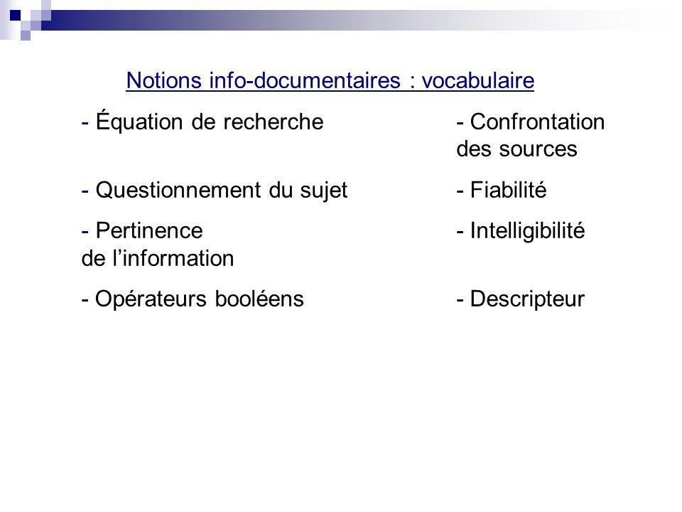 Notions info-documentaires : vocabulaire - Équation de recherche- Confrontation des sources - Questionnement du sujet- Fiabilité - Pertinence- Intelligibilité de linformation - Opérateurs booléens- Descripteur