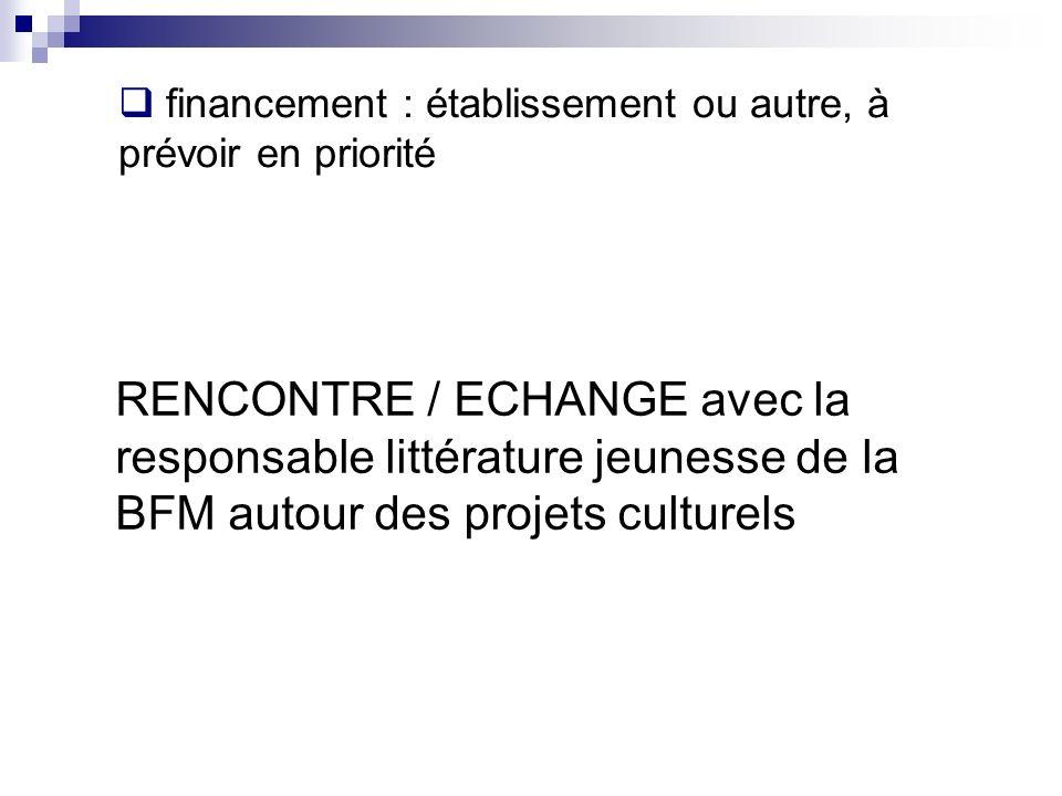 RENCONTRE / ECHANGE avec la responsable littérature jeunesse de la BFM autour des projets culturels