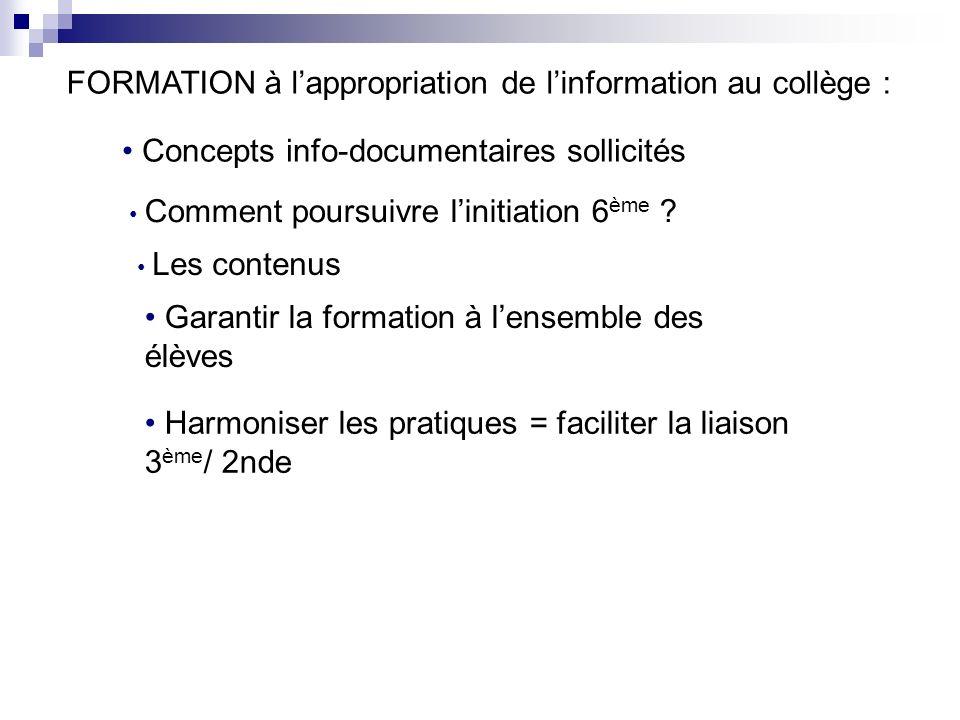 FORMATION à lappropriation de linformation au collège : Concepts info-documentaires sollicités Comment poursuivre linitiation 6 ème .