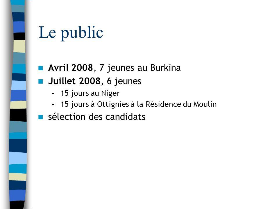 Le public Avril 2008, 7 jeunes au Burkina Juillet 2008, 6 jeunes –15 jours au Niger –15 jours à Ottignies à la Résidence du Moulin sélection des candidats