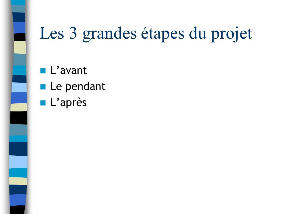 Les 3 grandes étapes du projet Lavant Le pendant Laprès