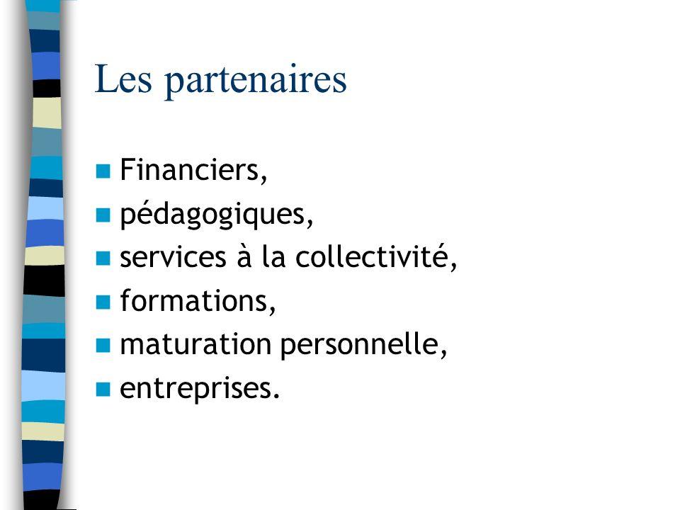 Les partenaires Financiers, pédagogiques, services à la collectivité, formations, maturation personnelle, entreprises.