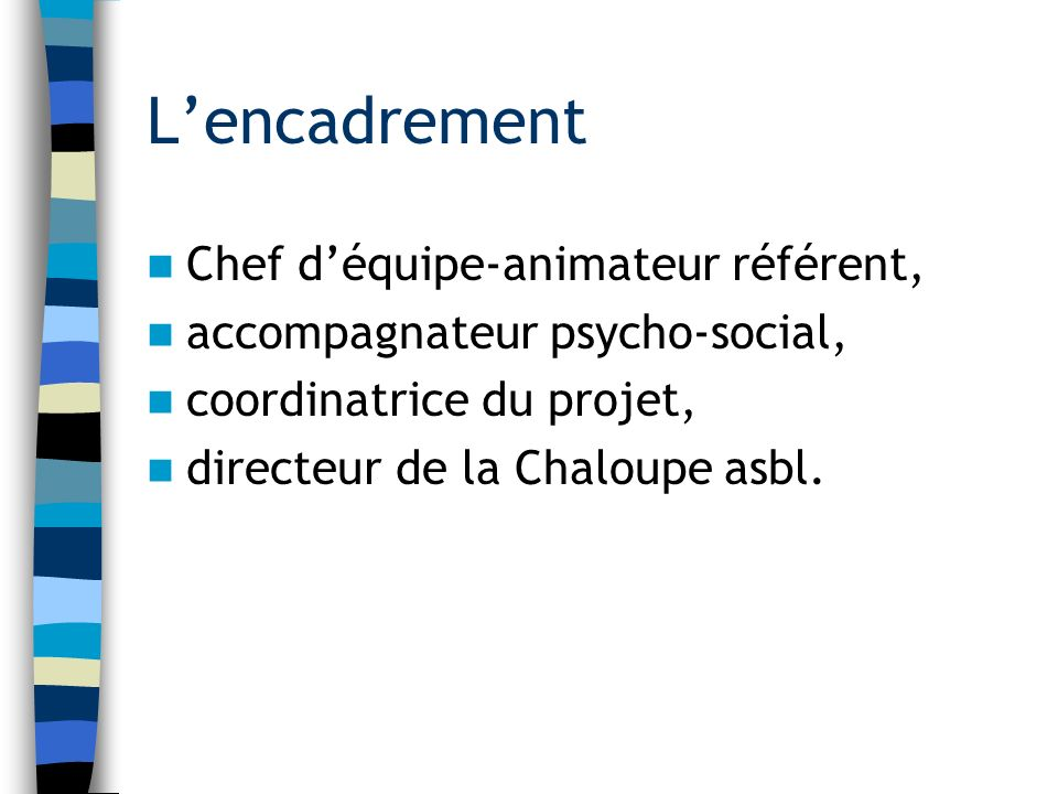 Lencadrement Chef déquipe-animateur référent, accompagnateur psycho-social, coordinatrice du projet, directeur de la Chaloupe asbl.