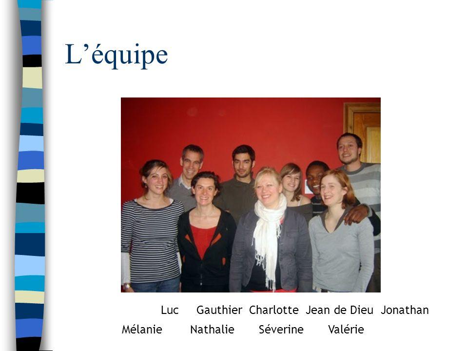 Léquipe Luc Gauthier Charlotte Jean de Dieu Jonathan Mélanie Nathalie Séverine Valérie