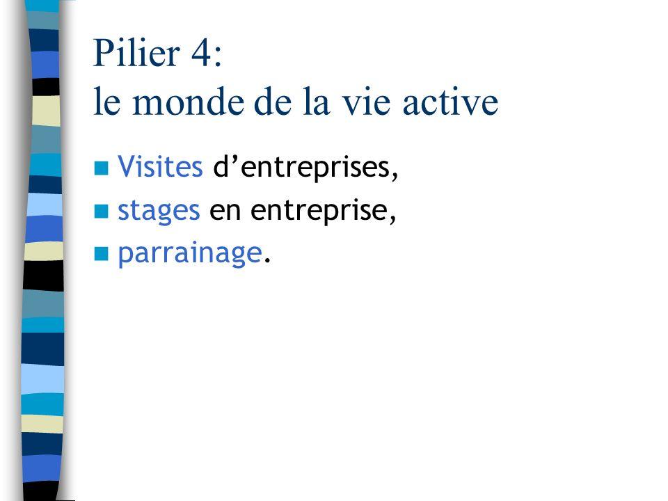 Pilier 4: le monde de la vie active Visites dentreprises, stages en entreprise, parrainage.