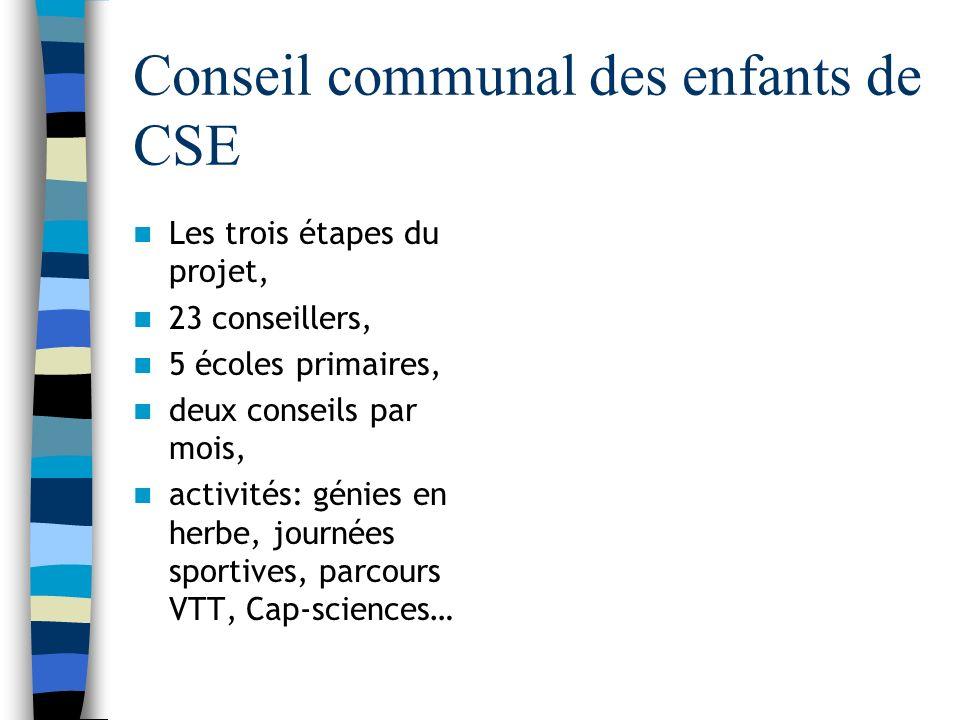Conseil communal des enfants de CSE Les trois étapes du projet, 23 conseillers, 5 écoles primaires, deux conseils par mois, activités: génies en herbe, journées sportives, parcours VTT, Cap-sciences…