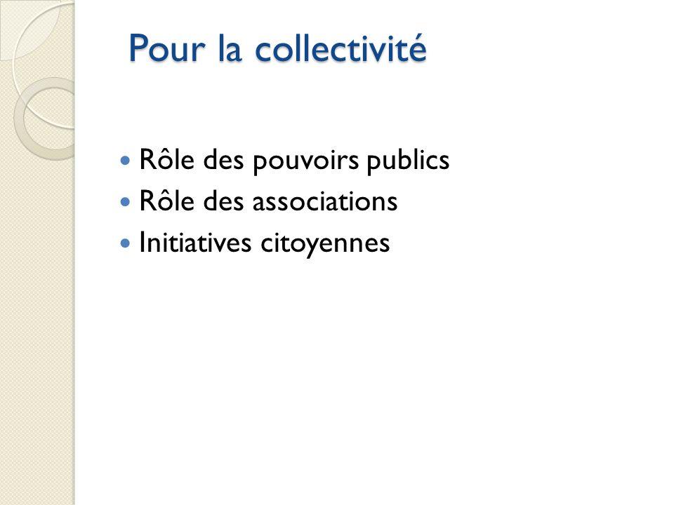 Pour la collectivité Rôle des pouvoirs publics Rôle des associations Initiatives citoyennes