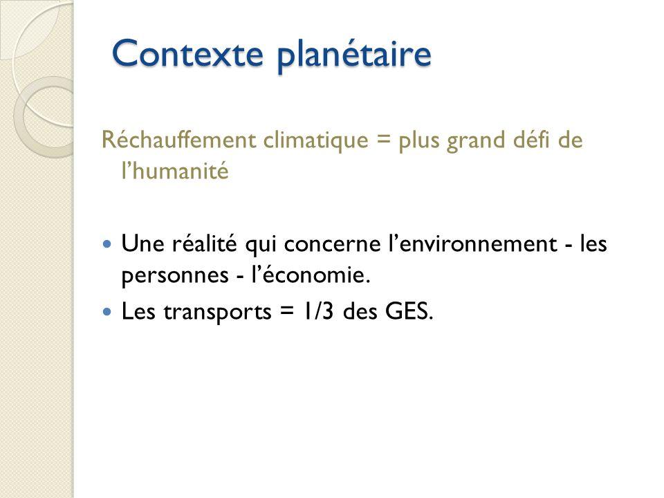 Contexte planétaire Réchauffement climatique = plus grand défi de lhumanité Une réalité qui concerne lenvironnement - les personnes - léconomie.