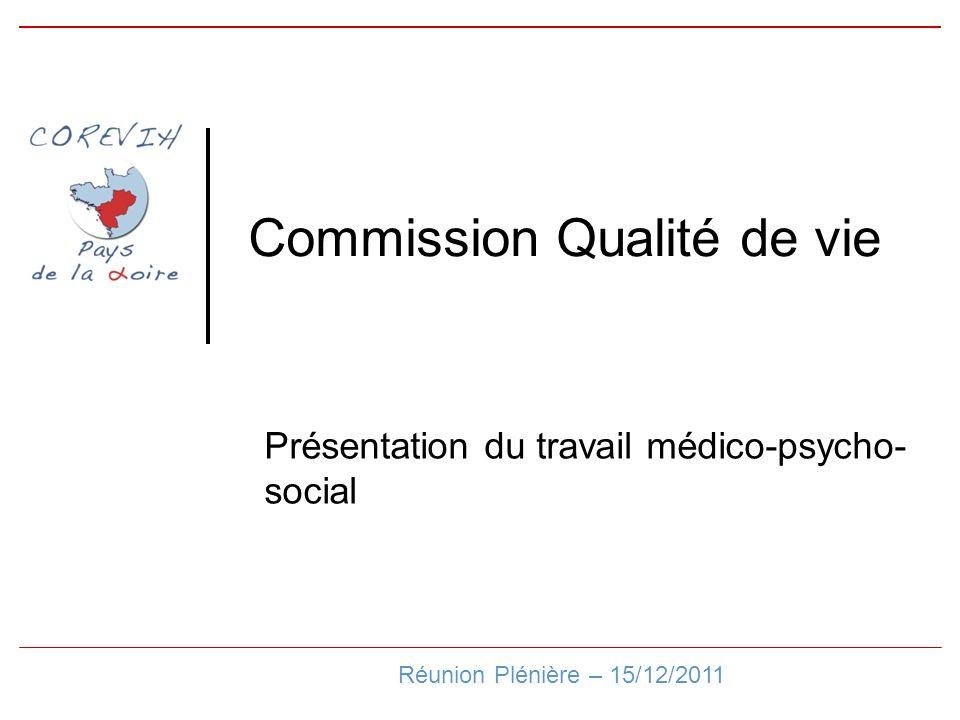 Commission Qualité de vie Réunion Plénière – 15/12/2011 Présentation du travail médico-psycho- social