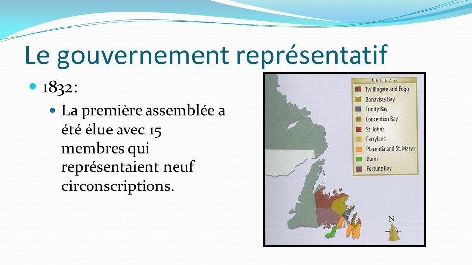 1832: La première assemblée a été élue avec 15 membres qui représentaient neuf circonscriptions. Le gouvernement représentatif