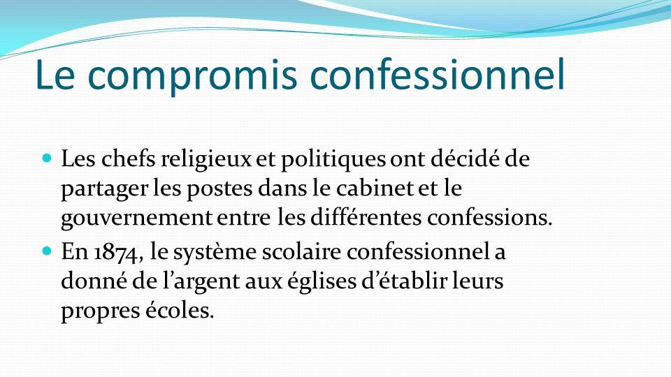 Le compromis confessionnel Les chefs religieux et politiques ont décidé de partager les postes dans le cabinet et le gouvernement entre les différente