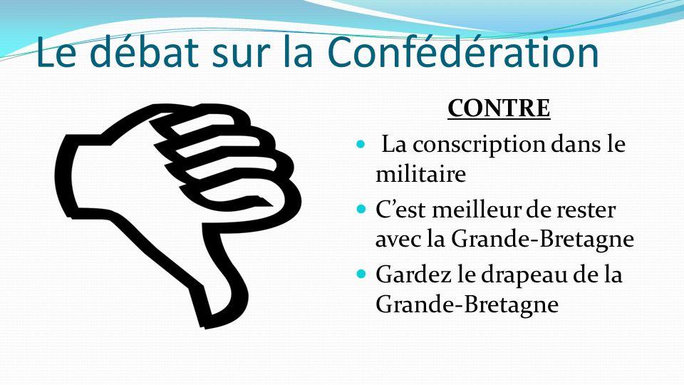 Le débat sur la Confédération CONTRE La conscription dans le militaire Cest meilleur de rester avec la Grande-Bretagne Gardez le drapeau de la Grande-