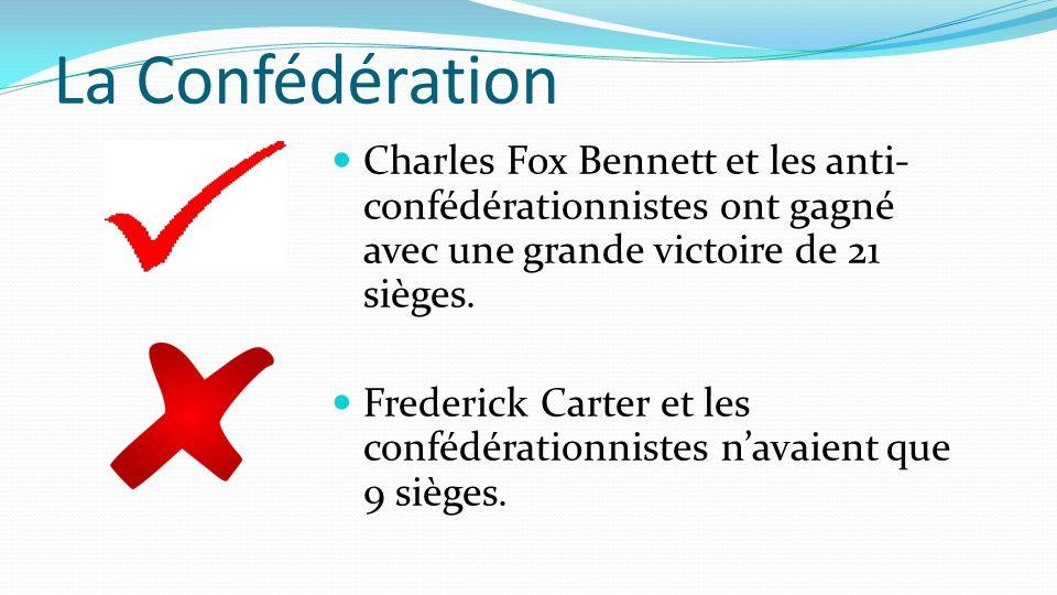 La Confédération Charles Fox Bennett et les anti- confédérationnistes ont gagné avec une grande victoire de 21 sièges. Frederick Carter et les confédé