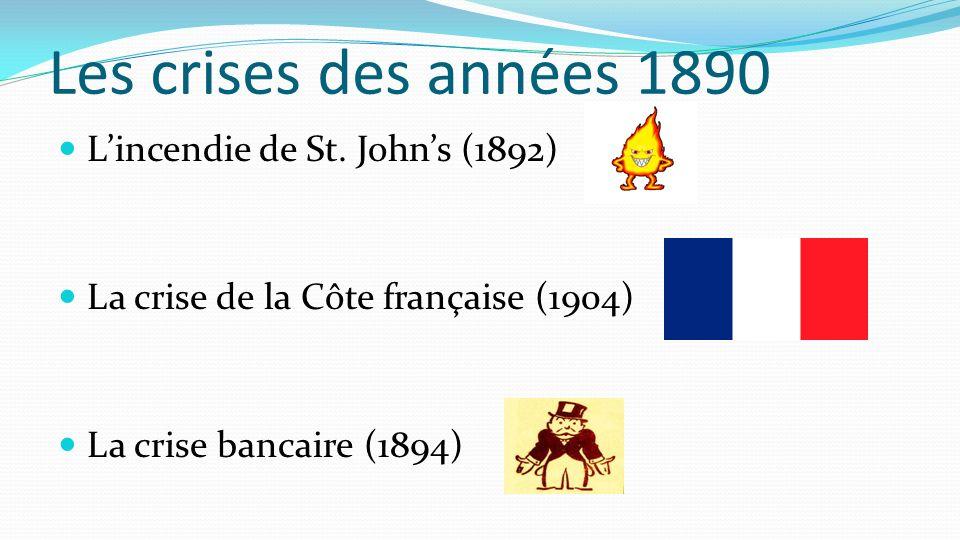 Les crises des années 1890 Lincendie de St. Johns (1892) La crise de la Côte française (1904) La crise bancaire (1894)