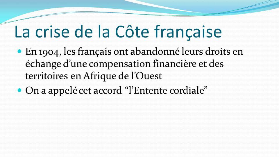 La crise de la Côte française En 1904, les français ont abandonné leurs droits en échange dune compensation financière et des territoires en Afrique d