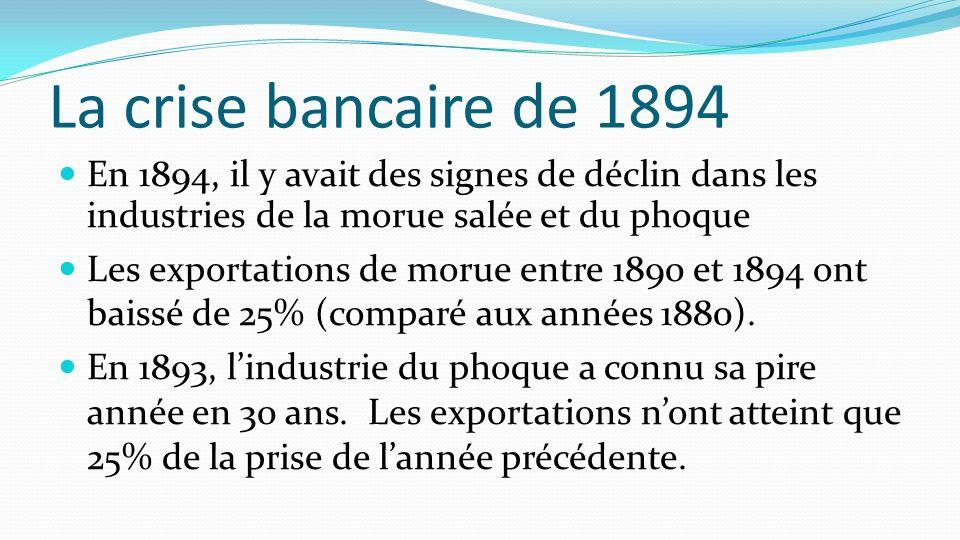 La crise bancaire de 1894 En 1894, il y avait des signes de déclin dans les industries de la morue salée et du phoque Les exportations de morue entre