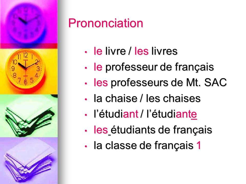 Prononciation le livre / les livres le livre / les livres le professeur de français le professeur de français les professeurs de Mt.