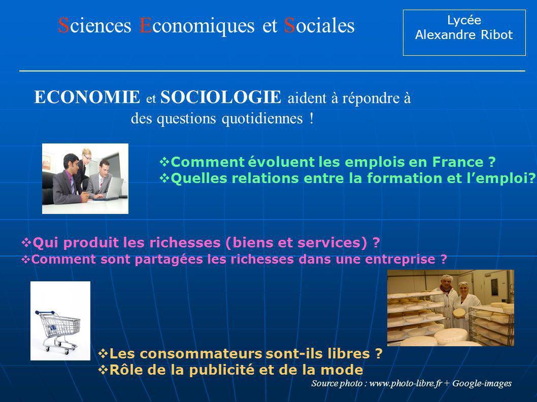 Lycée Alexandre Ribot Sciences Economiques et Sociales Comment évoluent les emplois en France ? Quelles relations entre la formation et lemploi? Qui p