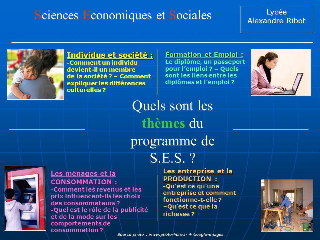 Lycée Alexandre Ribot Quels sont les thèmes du programme de S.E.S. ? Sciences Economiques et Sociales Formation et Emploi : Formation et Emploi : Le d