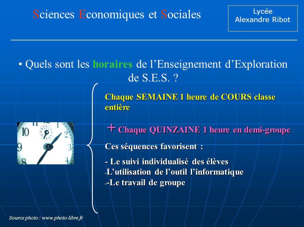 Lycée Alexandre Ribot Quels sont les horaires de lEnseignement dExploration de S.E.S. ? Sciences Economiques et Sociales Chaque SEMAINE 1 heure de COU