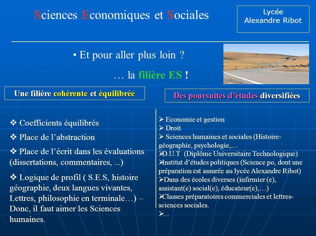 Lycée Alexandre Ribot Et pour aller plus loin ? Sciences Economiques et Sociales … la filière ES ! Economie et gestion Droit Sciences humaines et soci